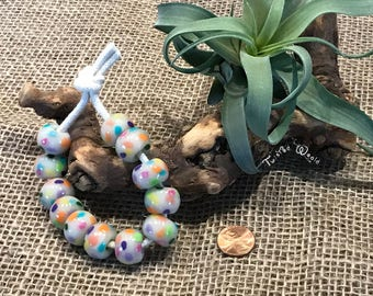 12 White Beads with Pastel Colors and Large Hole