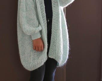 Oversized Chunky Knit Sweater, Loose Knit, Slouchy Sweater, Turquoise Pastel, Oversized Knit Cardigan/ Loose Knit Cardigan/ Bernadette-vest