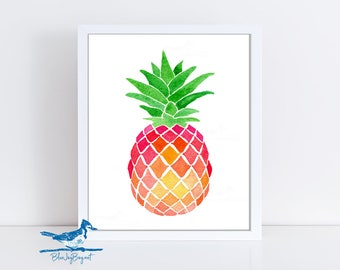 Pineapple Art Print - Pineapple Decor - Mothers Day Gift - Watercolor Pineapple Print - Pink Wall Art - Tropical Fruit Art - Kitchen Art
