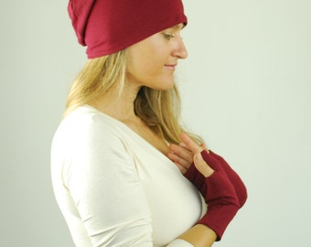 Slouchy Hat - Boho - Unisex - Marsala Red - Organic Clothing - Eco Friendly - Beanie