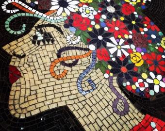 Mosaic Art Nouve Flower Girl Portrait