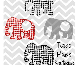 SVG, DXF, EPS, Houndstooth, Elephant, Cuttable, Silhouette, Cricut, TessieMaes, Cutting File, Monogram