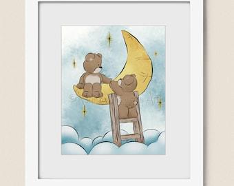 8 x 10 Childrens Art for Nursery Decor, Moon and Stars Babys Nursery Art, Boys or Girls Wall Art Print for Kids (371)