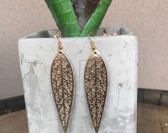 Gold Long Leaf Leather Earrings