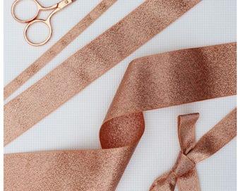 100 meters Rose Gold Ribbon Collection. Bulk Order Rose Gold Lame Ribbon. 3mm,  7mm, 15mm, 25mm, 40mm Craft Ribbon. Ribbon. Wedding Ribbon.