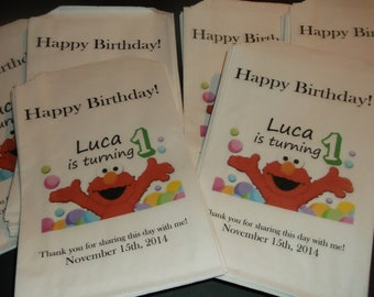 Custom Sesame Street Elmo Bag with Age and Name Kraft Favor Bags (20) Birthday, Baby Shower, for all Occasions