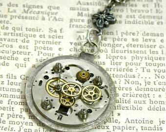 "Steampunk Faux Sprocket Pocket Watch, 24"" Vintage silver and Bronze Necklace"