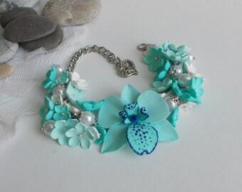 blue orchid bracelet, bridal accessory, cold porcelain, bridesmaid accessory, bridesmaid bracelet, flowers accessory, flow