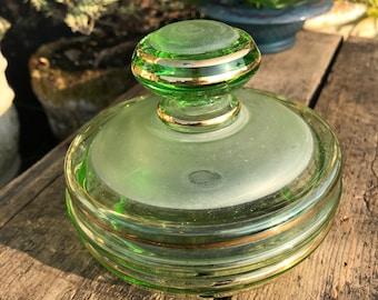 "Bohemian Glass Lidded Powder Jar, Gold Gilt Rim, Light Green, Translucent and Opaque Glass, Art Deco Era, Circa 1930, 5"" x 4"""
