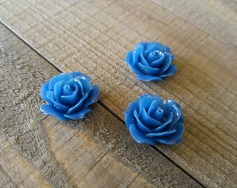 Flower Cabochons Resin Flowers Blue Flower Cabochons Flower Flat Backs Resin Cabochons Flat Back Flowers Rose Cabochons 18mm Cabochons 18mm