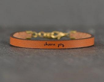 choose joy | meaningful gift | gift for mom | handwritten jewelry | message bracelet | gift for daughter | leather bracelet | laurel denise