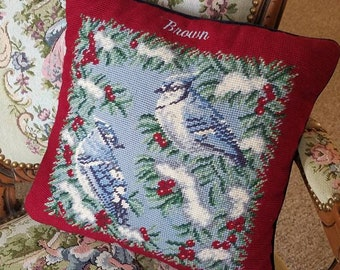 Nature lovers Blue jay bird Needlepoint bird pillow-shabby/ french country/victorian home decor