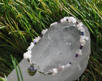 Rose Quarts and Purple Iridescent Beaded Bracelet