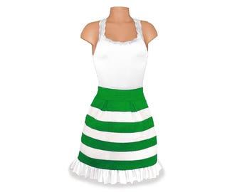 Green + White Stripe Scuba Skirt