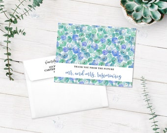 A2 Watercolor Floral Folded Note Cards Thank You Flowers Blue Green Pansies Calligraphy Cardstock Wedding Bridal Baby Shower Engagement