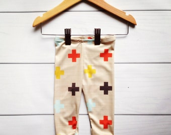 Modern baby cross leggings,   new sizes available for 0-24 months!