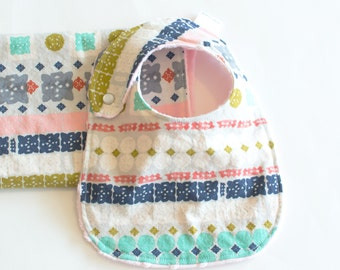 Baby Girl Gift Set Bib and Burp Cloth Bandana Paper Cuts