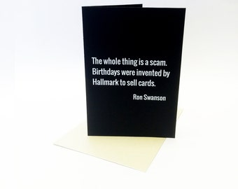 Ron Swanson Birthday Card - A6 greeting card, inspired by Parks and Recreation