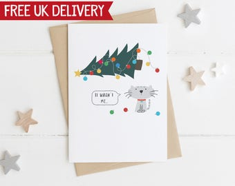 Naughty Cat Christmas Card - cat christmas tree card - cat xmas card - cat lover xmas - funny cat christmas card - it wasn't me cat card