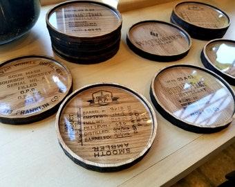 SET OF 4- American Oak Bourbon Barrel Head Coasters