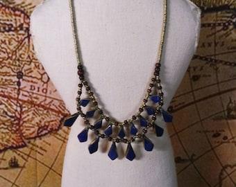 Vintage Lapis Lazuli Stone Bib Necklace