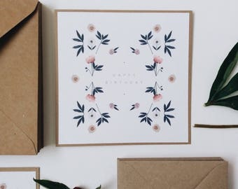 Happy Birthday Card    Flower Tile Greetings Card, Birthday Card For Her, Handmade Birthday Card, Floral Birthday Card
