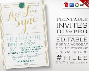 New Years Invitation Template - Art Deco Glitter New Years Party Invite - Printable DIY New Years Party Invitation Editable Gatsby Vintage