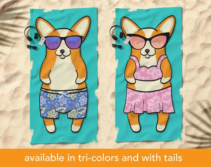 "Featured listing image: Corgi Beach Towel - 30"" x 60"" or 36"" x 72"""