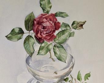 Red Rose, Original watercolor painting