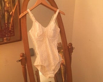 Vintage NOS Dead Stock Seventies 1970s White Lace Teddy Shapewear Body Suit 34D Cup Size Small Valley of the Dolls Lingerie