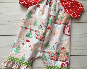 Baby Girl Newborn Christmas Peasant Romper Pants - Ready to Ship