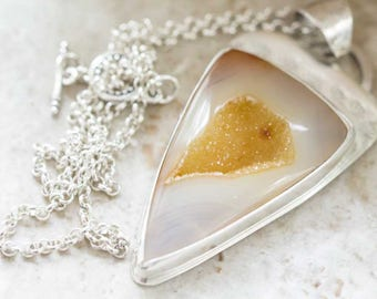 Agate Quartz Druzy Pendant, Large, Gold, Handcrafted in Sterling Silver