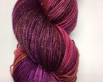Hand dyed yarn.Merino/nylon/silver stellina.75/20/5.India