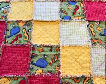 Sea Animal Primary Colors Rag Quilt