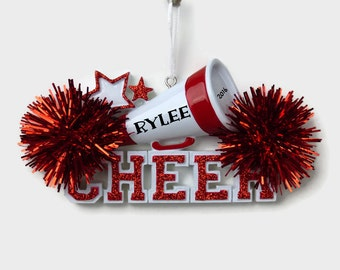 Red Cheerleader Personalized Ornament - CHEER - Pom Poms - Hand Personalized Christmas Ornament - Personalized Ornament
