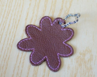 Leather keychain, leather keyring,flower keychain,shapes keyring,flowers keychain,brown flower keyring,brown keychain, flower shape