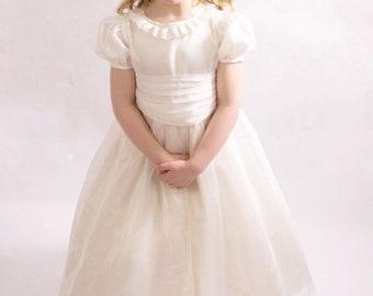 Party Occasion, ivory Flower girl dress, Easter dress, pleated neckline flower girl dress, silk dress, custom handmade dress