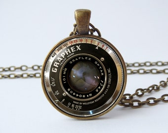 Necklace camera lens Camera jewelry Old camera lens pendant Photographer gift Camera necklace Camera gift Technological Vintage camera lens