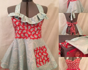 Flirty Retro Apron with cute detachable crinoline  / petticoat