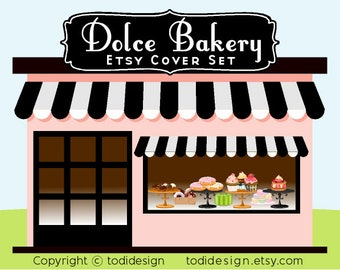 Dolce Bakery - Premade Etsy Shop Cover set