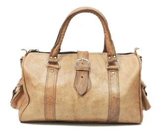 80's Style Urban Tan Brown Duffle Bag