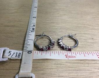 Vintage 925 Sterling Silver 2.8g Hoop Earrings Deep Pink Clear Cz Used