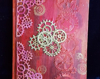 Red and bronze steampunk mixed media altered notebook