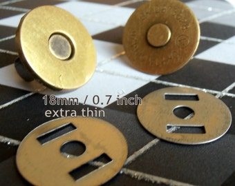 15 Sets Extra Thin Magnetic Snap Closures - 2mm slim (available in 18mm and 14mm diameter, nickel and antique brass)
