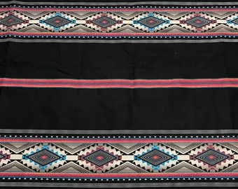 Native design strips black bkg, 1 Yard-OUT OF PRINT