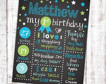 First Birthday Chalkboard. First Birthday Poster. Birthday Board. First Birthday Sign. Birthday Photo Prop. Customized Chalkboard Poster.