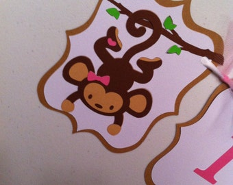 Monkey themed It's a Girl baby shower banner