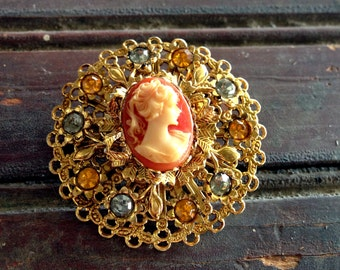 Cameo Pin with Rhinestones |  Fall Colors | Starburst Goldtoned brooch with Cameo