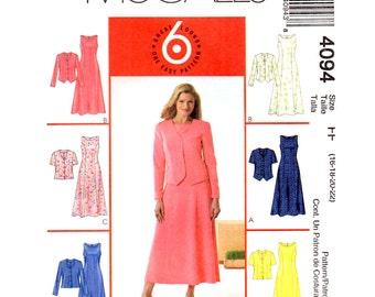 Unlined Jacket & Dress Pattern McCalls 4094 Flared Sleeveless Dress Princess Seams Womens Size 16 to 22 Sewing Pattern UNCUT