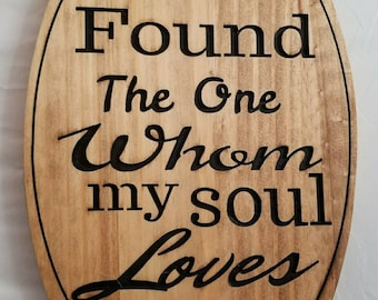 Wood carving, I have found the one whom my soul loves,   solomon 3:4